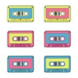 Taśmy dźwiękowa różni colours Technologia 70s Obrazy Royalty Free