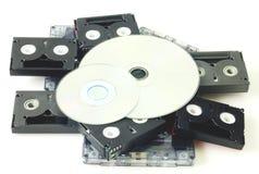 Taśmy i DVD odizolowywający Zdjęcia Stock