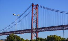 25ta April Bridge famosa sobre el río Tajo en el puente de Lisboa aka Salazar - LISBOA - PORTUGAL - 17 de junio de 2017 Foto de archivo