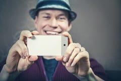 Ta bilden med mobiltelefonen Arkivbilder