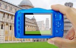 Ta bildmirakel kvadrera Pisa Italien den kompakta kameran pov Royaltyfria Bilder