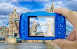 Ta bildtornbron london den kompakta kameran visa pov Fotografering för Bildbyråer