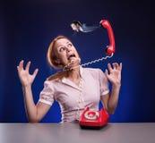 tła biznes odizolowywający nad stresu białą kobietą Fotografia Royalty Free