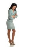 tła bizneswomanu odosobnienia główkowania biel Zdjęcia Stock