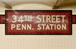 34ta calle Penn Estación - subterráneo de New York City Fotografía de archivo