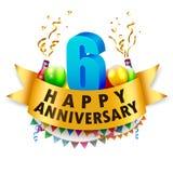 6ta celebración feliz del aniversario Foto de archivo