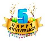 5ta celebración feliz del aniversario Fotos de archivo