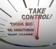 Ta den stora kontrollhastighetsmätarefunderaren önskar ändring Arkivbild
