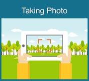 Ta design för fotoillustrationlägenhet Ta fotoet vid grejbegrepp Arkivfoton
