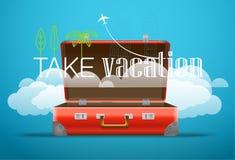 Ta det resande begreppet för semestern Plan design Arkivbilder