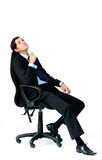 Ta ett avbrott som baksidt lutar på stol Royaltyfria Foton