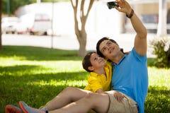 Ta ett foto av mig och min son Arkivbild