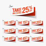 Ta extra en Sale kuponger Fotografering för Bildbyråer