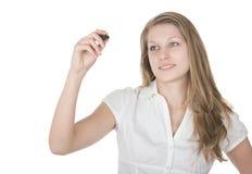 ta för affärskvinnaanmärkning Arkivfoto