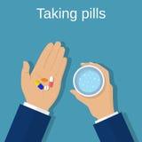 ta för pills royaltyfri illustrationer