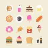 tła fasta food ikony odosobniony ustalony biel Obraz Royalty Free