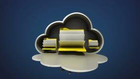 Ta fram animeringen för molnmappsäkerhet, öppnat molnkassaskåp royaltyfri illustrationer
