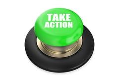 Ta handling den röda knappen Royaltyfri Foto