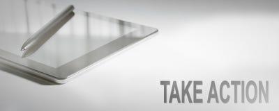 TA HANDLINGaffärsidéen Digital teknologi Arkivbilder