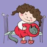 tła karciana kreskówki dziewczyny powitania strony szablonu cechy ogólnej sieć Obrazy Royalty Free