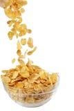 tła kukurydzanych płatków makro- pracowniany biel Obraz Royalty Free