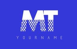 TA M T Dotted Letter Logo Design con el fondo azul Imagen de archivo libre de regalías