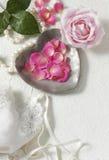 tła płatków różowe róże biały Zdjęcie Stock