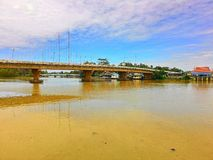 Ta-pee bridge at Suratthani Thailand. Ta-pee bridge is the bridge in Moung sub district Suratthani Thailand river riverside traffic Stock Photo