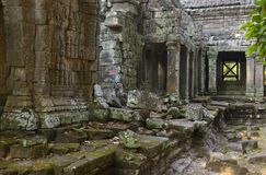 Ta phrom temple in angkor Stock Photos