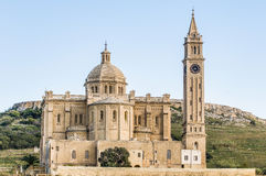 Ta' Pinu church near Gharb in Gozo, Malta. The National Shrine of the Blessed Virgin of Ta' Pinu, parish church and minor basilica located near Gharb on the Stock Images