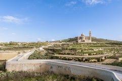 Ta' Pinu church near Gharb in Gozo, Malta. The National Shrine of the Blessed Virgin of Ta' Pinu, parish church and minor basilica located near Gharb on the Stock Image