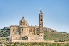 Ta' Pinu church near Gharb in Gozo, Malta. The National Shrine of the Blessed Virgin of Ta' Pinu, parish church and minor basilica located near Gharb on the Stock Photography