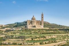 Ta' Pinu church near Gharb in Gozo, Malta. The National Shrine of the Blessed Virgin of Ta' Pinu, parish church and minor basilica located near Gharb on the Royalty Free Stock Photos