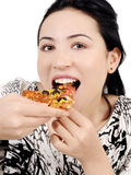 äta pizzakvinnabarn Arkivfoton