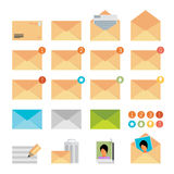 Żółta poczta ikona ustawiająca w płaskim projekta stylu Fotografia Royalty Free