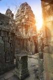 Ta Prohm寺庙废墟在吴哥窟暹粒,柬埔寨, 12世纪 图库摄影