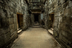 Ta Prohm corridors. With misterious atmosphere Royalty Free Stock Images