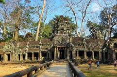 The Ta Prohm Taprom temple. Siem reap, Cambodia. - January 24, 2016. The Ta Prohm Taprom temple in the jungle near Angkor Royalty Free Stock Photography