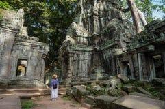 Ta Prohm, Teil des Khmertempelkomplexes, Asien Stadtzentrum von Siem Reap, Kambodscha Alte Khmerarchitektur im Dschungel Lizenzfreie Stockfotografie