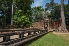 Ta Prohm, Teil des Khmertempelkomplexes, Asien Stadtzentrum von Siem Reap, Kambodscha Alte Khmerarchitektur im Dschungel Lizenzfreie Stockfotos