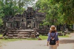 Ta Prohm, Teil des Khmertempelkomplexes, Asien Stadtzentrum von Siem Reap, Kambodscha Alte Khmerarchitektur im Dschungel Lizenzfreie Stockbilder