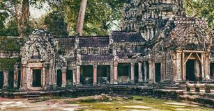 Ta Prohm temple in Angkor. View of a part of the temple of Ta Prohm temple in Angkor in Cambodia Royalty Free Stock Images