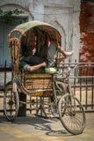 Ta sig en tupplur i rickshaw Arkivbild