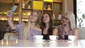 Ta självståenden Tre kvinnliga vänner som gör självporträttet medan kaffeavbrott stock video