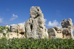 Ta Skorba寺庙|在巨石estructure的面孔 图库摄影