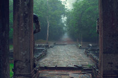 Ta Som temple entrance in the rain. Angkor Wat Royalty Free Stock Photo