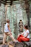 Ta Som temple. Family visiting ancient Ta Som temple in Angkor Archeological area in Cambodia Stock Photo