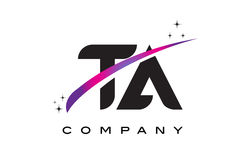 TA T A Black Letter Logo Design with Purple Magenta Swoosh. And Stars Royalty Free Stock Photos