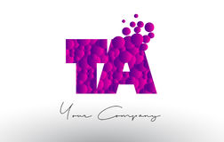 TA T A Dots Letter Logo with Purple Bubbles Texture. TA T A Dots Letter Logo with Purple Pink Magenta Bubbles Texture Vector Royalty Free Stock Images