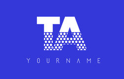 TA T A Dotted Letter Logo Design with Blue Background. TA T A Dotted Pattern Letter Logo Design Vector with Blue Background Royalty Free Stock Photo